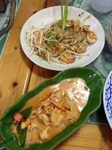 Top: Pad thai stir fry with prawns. Bottom: Chicken panang curry (without added vegetables). I learned to make both dishes at Thai Orchid Cooking School in Chiang Mai and they were both very tasty! Can't wait to eat them again...Mmm, mmm, good!