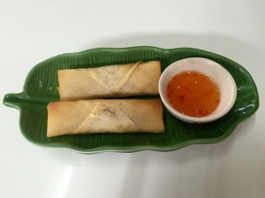 Fresh spring rolls served with the traditional sweet and sour chili sauce on the side. A tasty starter!