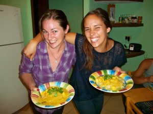 Kathy and I with mango coconut chicken curry.