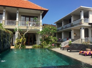 The pool and a view of some of the rooms at Mertayasa 2 Guesthouse in Ubud.