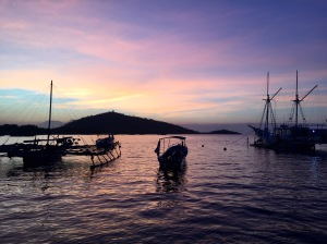 The peaceful Pemuteran Bay at dusk.