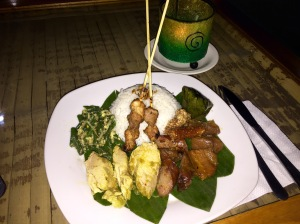 Babi Guling, a traditional Balinese dish based on various preparations of pork and other pig parts.