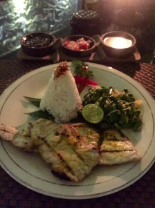 My scrumptious fresh mahi mahi dinner in Pemuteran Bay.