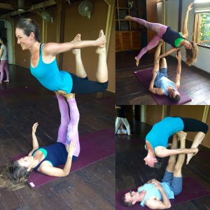 Acro Yoga with Jamie and Mark--both great partners! I loearned a lot from both of them.
